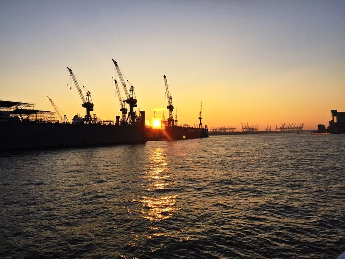 Sunset Hamburg haffen Harbor Water Elbe Silhouette First Eyeem Photo