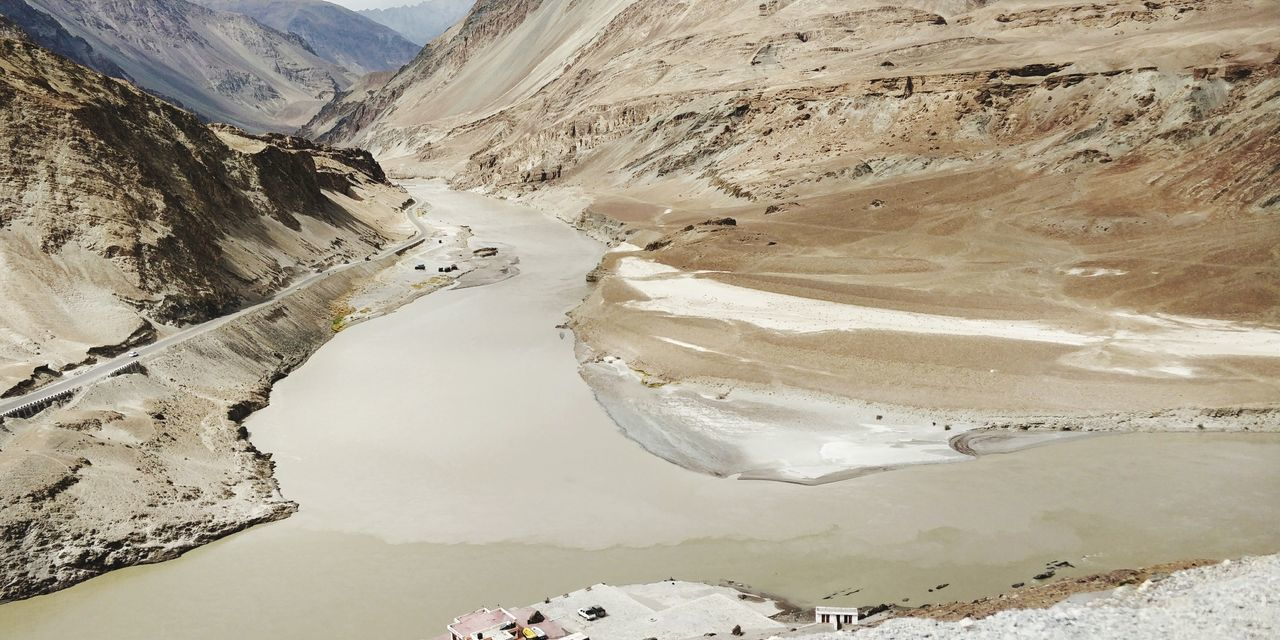Confluence of Indus and zanskar River River View India Ladakh Confluence Indus River Water Mountain Desert Arid Climate Sand Dune Sand Aerial View Sky Landscape Mountain Range Geology Physical Geography Natural Landmark