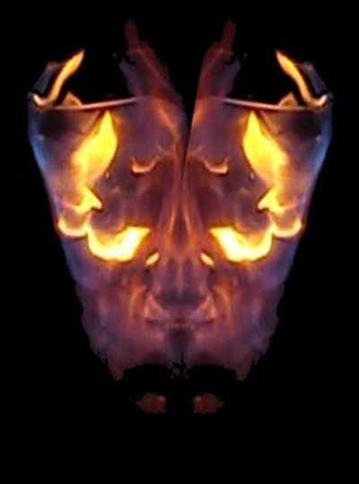 Black Background Close-up Creepy Fire And Flames Fire Face Illuminated Night No People Pinkfire Studio Shot Symmetry Vibrant Color Wine Glass