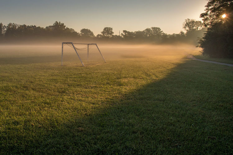 Soccer field in morning mist Beauty In Nature Environment Field Fog Goal Grass Land Nature No People Outdoors Plant Room For Text Scenics - Nature Sky Soccer Soccer Field Sport Sunrise Sunset Tranquil Scene Tranquility Tree