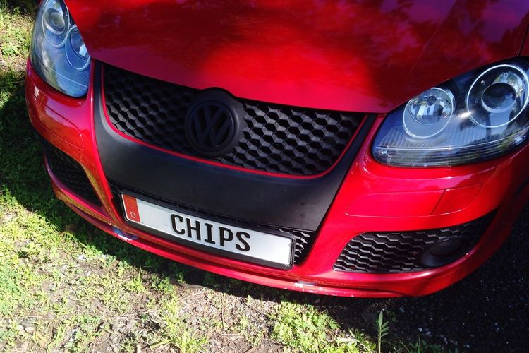 Car Red Silly Outdoors Waiting Chips License License Plate