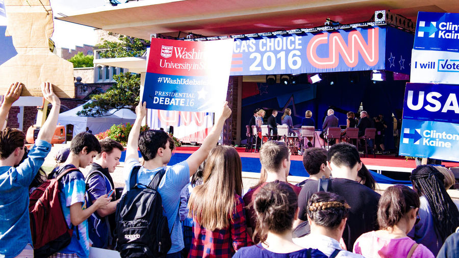 Photographs taken on the Washington University in St. Louis campus on the day of the second 2016 Presidential Debate. Activism College Debate Media News Police Politics Protest St Louis Washington University In St Louis