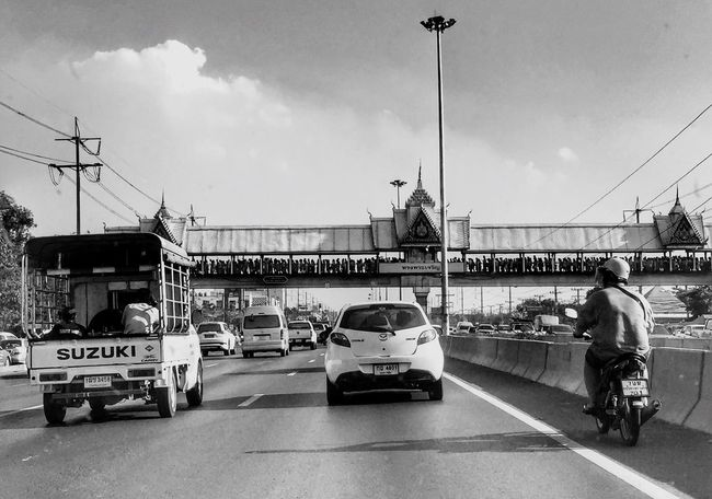Many People People Walking On The Road Flyover Life Blackandwhite