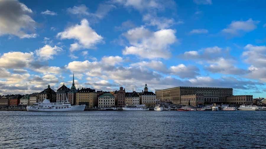 historic old town of Gamla Stan in Stockholm, Sweden Palace Tourism Ocean Travel Architecture Built Structure Building Exterior Nature City Outdoors Streetphotography Old Town Gamla Stan Stockholm Sweden Europe Scandinavia Scenic View Travel Tourism Landscape Windows Sky Historic Historical Cloud - Sky City Water Waterfront Cityscape