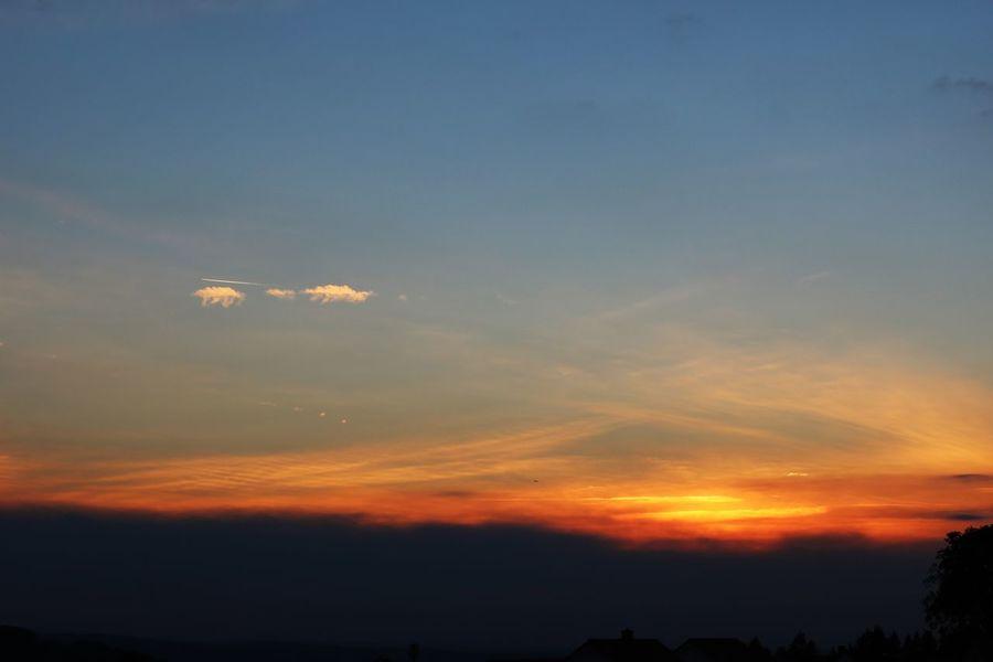 🌜🌞 SONNENUNTERGANG🌞🌛Der Tag kämpft tapfer um Minuten, die Nacht setzt Siegermiene auf. Bestrahlte Wolkenbänke fluten vereinigt mit dem Sonnenlauf. Schon schwärzen sich die Buchenzweige, das Blattwerk gleicht dem Schattenschnitt. Der Feuerball erreicht die Neige, zur Nacht ein winzig kleiner Schritt. (Ingo Baumgartner) Beauty In Nature Dramatic Sky From My Point Of View From My Window I Love Nature! Ladyphotographerofthemonth Nature Photography Scenics Silhouette Sky And Clouds Sky_collection Sunset Sunset And Clouds  Sunset Silhouettes Sunset_captures Sunset_collection Sunsetlover Sunsets Tranquil Scene Tranquility