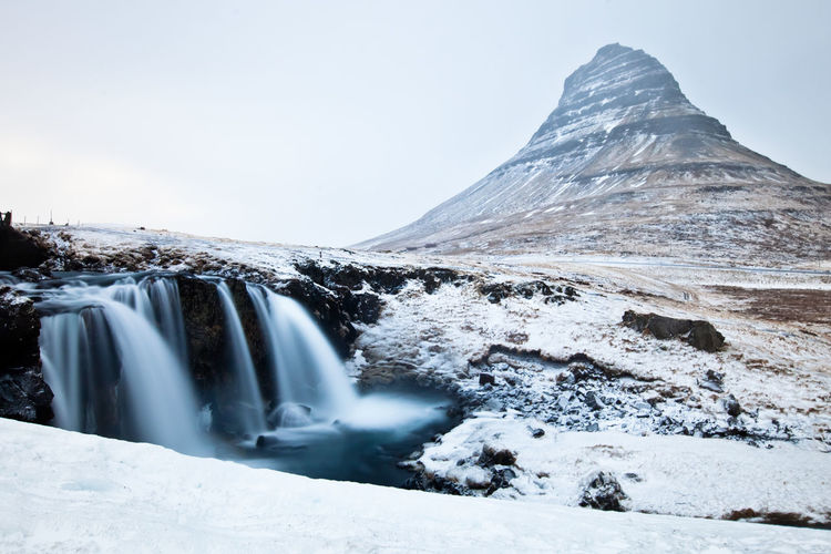 iceland - kirkjufell in winter - volcano and waterfall Cold Colors Geology Iceland Kirkjufell Landscape Physical Geography Power In Nature Snow Waterfall Winter Landscapes With WhiteWall Landscapes With Whitewall Winners