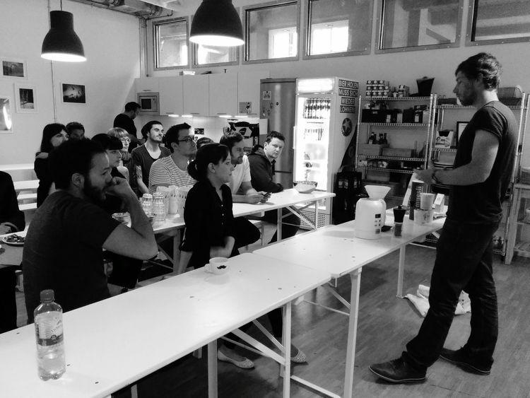 Tobi introducing the Green Cup Coffee roast to the EyeEm Team.
