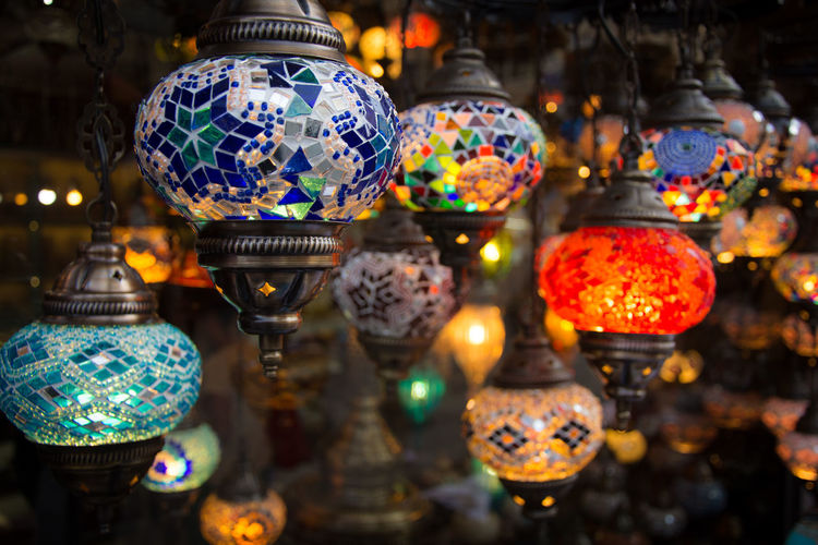 Close-up Day Hanging Illuminated Indoors  Lantern Lighting Equipment Multi Colored No People Red Retail  Variation