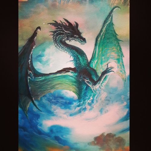 """Laikh y la piedra chintamani"" Canvas Oil Dragon Ciruelo"