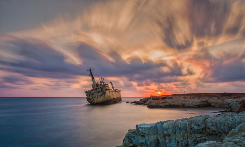 Beauty In Nature Cloud - Sky Dramatic Sky Horizon Horizon Over Water Mode Of Transportation Nature Nautical Vessel No People Outdoors Sailboat Scenics - Nature Sea Ship Shipwreck Sky Sunset Tranquility Transportation Water