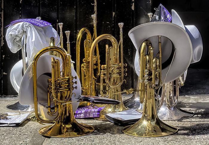 Gay Pride Parade NYC 2016 Brass Instruments Gay Boy Gay Pride Parade NYC 2016 Marching Band Instruments Musical Instruments