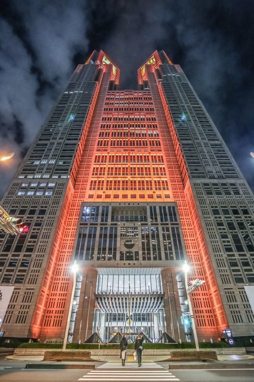 built structure, building exterior, architecture, illuminated, building, sky, city, low angle view, modern, tall - high, travel destinations, office building exterior, skyscraper, cloud - sky, office, nature, night, outdoors, incidental people, luxury, financial district