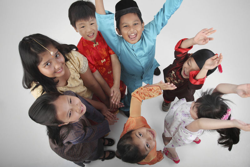 High Angle View Of Children On White Background