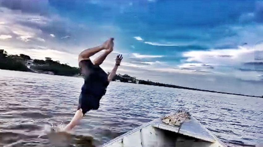 That's Me Enjoying Life Whiteriver Brazil Beach Nature River Boat Amazonia Sky