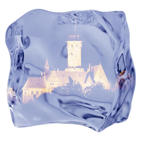 castle in the ice cube Castle Cube Ice Architecture Blue Close-up Communication Cut Out Digital Composite Finance Glass - Material High Angle View Indoors  Nature No People Still Life Studio Shot Transparent Travel Water Wealth White Background