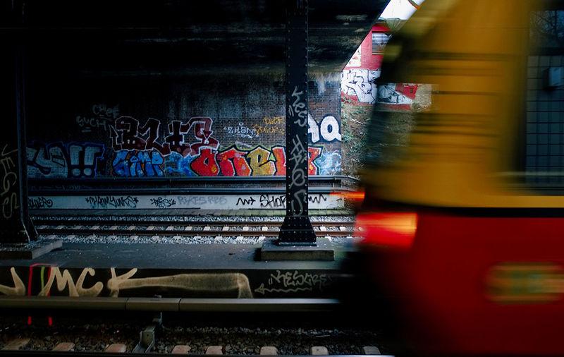 Blurred motion of graffiti on wall