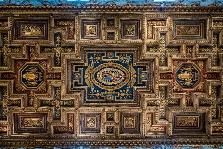 Architecture Art And Craft No People Built Structure Creativity Pattern Design Full Frame Ornate Building Religion Craft Indoors  Decoration Blue Belief Ceiling Shape Geometric Shape Mural Directly Below