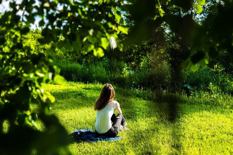 Woman Sitting On Grass Against Trees