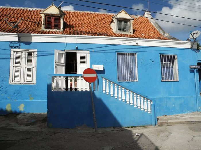 Building Exterior Architecture Blue Built Structure No People Outdoors Day Otrabanda Curacao Curaçao (c) 2016 Shangita Bose All Rights Reserved Historical Historic Buildings  Willemstad Snbcuracao