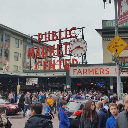 Pikes place market Seattle, Washington People Travel Destinations Crowd