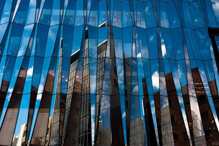 Built Structure Architecture Building Exterior Full Frame No People Backgrounds Blue Low Angle View Pattern Day Building Nature Sunlight Outdoors Reflection Glass - Material Sky Wall - Building Feature City Office Building Exterior EyeEmNewHere
