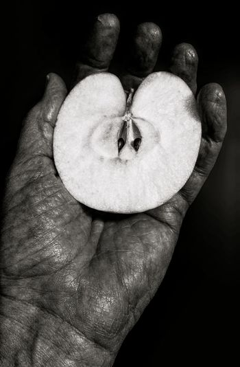 I Held It in My Hand Showcase: January Still Life Monochrome Black And White Apple Apple In Hand Extreme Texture