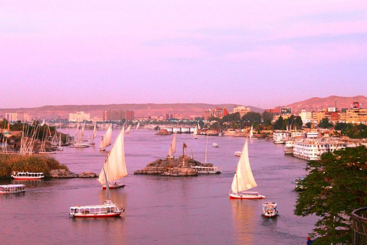 Water Outdoors River Sky City Cultures Fun Times Boats Discover Your City Sunset Nubians Nubianisland Nile River Nile Boats Travel Destinations NILE VIEW Relax❤️ Traveling