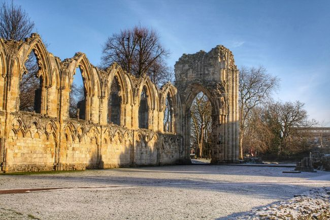 St Mary's Abbey, York Arch Architecture History Built Structure Old Ruin Ancient Travel Destinations Sky North Yorkshire York Frost Light Snow