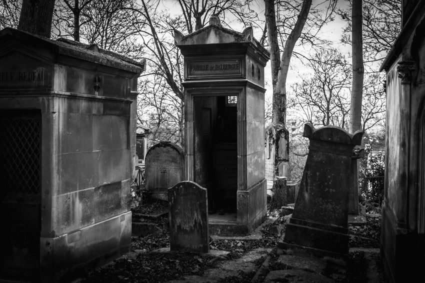 Black and White Picture taken at the famous Père Lachaise cemetery in Paris. Black And White Bw Bw_collection Cemetery Creepy Dark Deterioration Famous People Famous Place France Grave Graveyard Horror Macabre Old Outdoors Paris Père Lachaise Spooky Tourist Tree