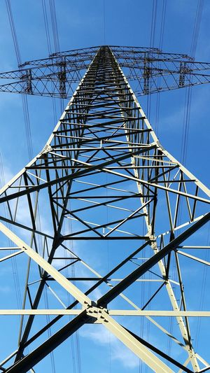 Electricity pole Concentric Electricity Pylon Steel Symmetry Technology Clear Sky Cable Silhouette High Voltage Sign Power Line  Electric Pole Iron - Metal Brushed Metal