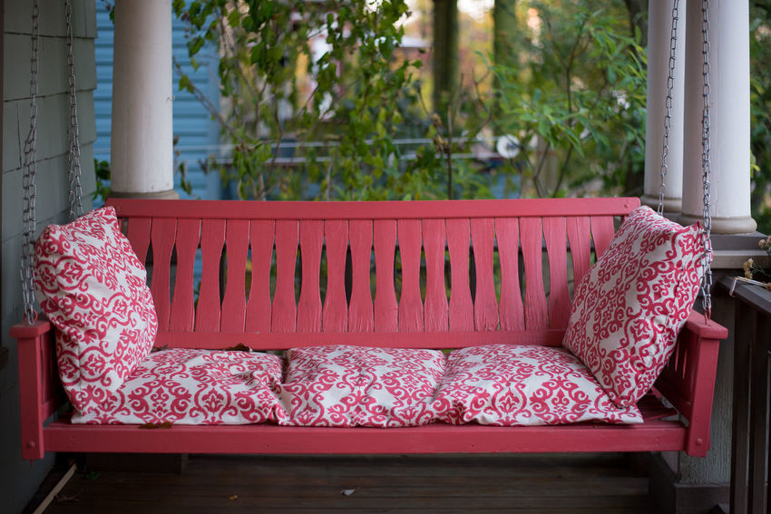 i went back to ohio Americana Copy Space Lonely MidWest Absence Bench Chair Cushion Depression Empty Floral Pattern Front Porch Furniture Idyllic No People Pillow Red Relaxation Seat Sofa Stuffed Swing Wallpaper Background