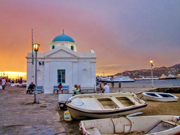 Sunset on Mykonos Island, Greece. Travel Destinations Sunset Travel Sky Outdoors Vacations Beach Sea Water Tourism Mykonos Island Mykonos,Greece Greek Islands Horizon Over Water Travel Tourist Destination Tourist Resort Tourist Attractions