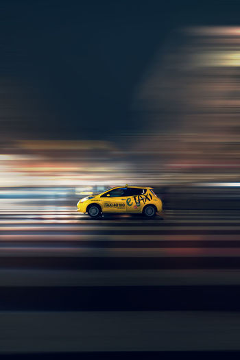 Nightphotography EyeEm Gallery EyeEmNewHere EyeEm Selects EyeEm Best Shots Urbanphotography Abandoned Buildings VSCO Motion Motion City Speed Blurred Motion Road Yellow Taxi Taxi Car Point Of View Moving