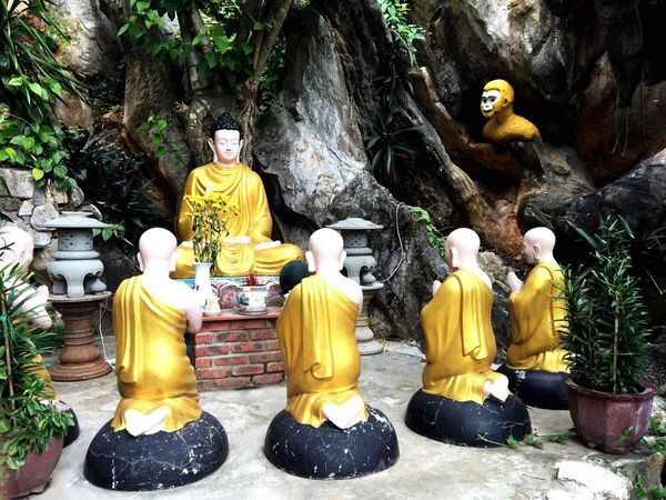Buddhist Vietnam Monks Monkey Gold Sculptures Statues