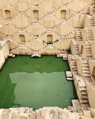Green Color India Steps Travel Photography Ancient Architecture Built Structure Day High Angle View History Incredible India No People Pattern Rajasthan Reflection Steps And Staircases Stepwell The Past Tourism Tourist Destination Travel Destinations Turquoise Colored Water Well