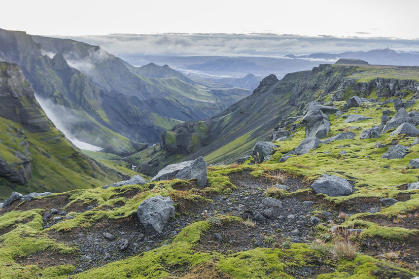 Hiking on Fimmvorduhals in summer, valley with moss covered mountainsides. Hicking Iceland Travelling Beauty In Nature Cloud - Sky Day Iceland Trip Landscape Mosscovered Mountain Mountain Range Nature No People Outdoors Rocks Scenics Sky Tranquil Scene Tranquility