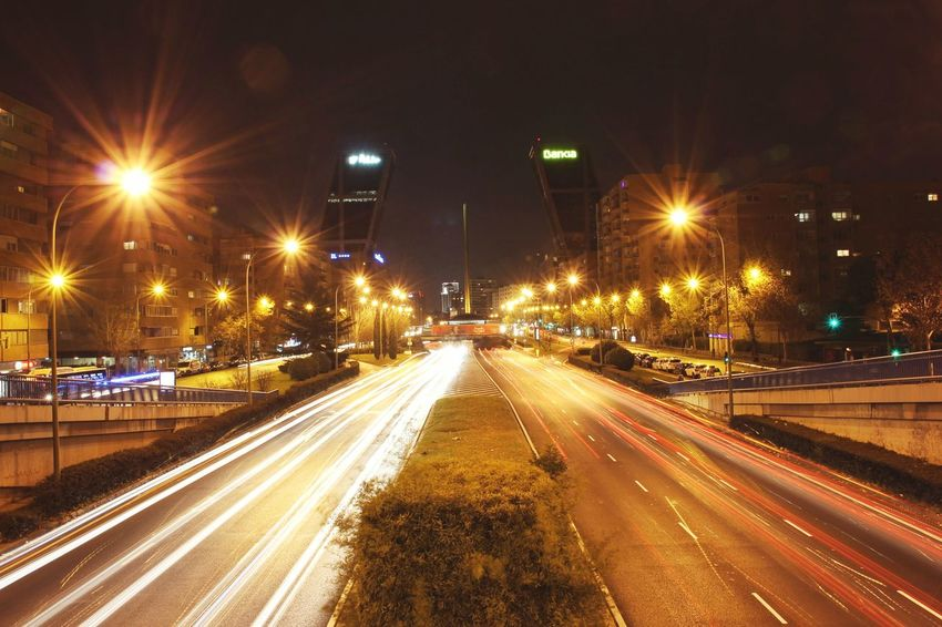 Capturing Motion Night Travel Destinations The Way Forward Highway Spanishlife Madrid At Night
