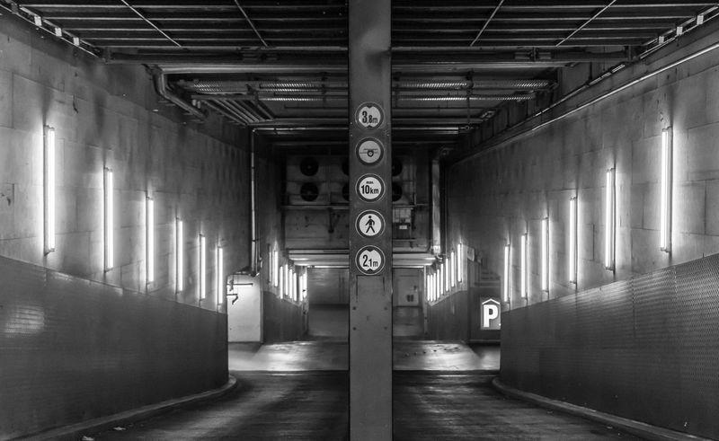 Architectural Column Architecture Black & White Black And White Built Structure Day Einfahrt Entrance Garage Illuminated Indoors  No People Parkhaus Parking Garage Urban Urban Exploration