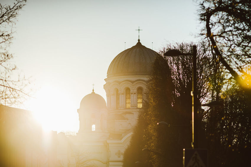 New day in the city Architecture Architecture Building Exterior Built Structure City City Life Day Dome Kaunas City New Day Outdoors Religion Sky Soboras Spirituality Sunrise Travel Travel Destinations Tree