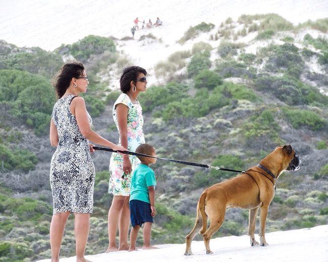 The Great Outdoors - 2016 EyeEm Awards People Walking On Dunes Dog On Leash Two Women Boy Dog Looking Staring