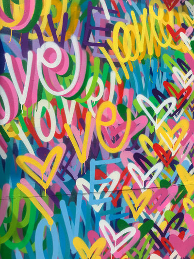 Graffiti love. Graffiti Love Colorful Day Heart Shape Hearts Multi Colored No People Text Variation