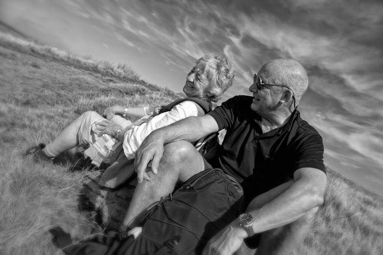 Friendship. ♡   Good Mates Hiking Nature Outdoors Real People Senior Adult Senior Man And Woman Taking A Rest  Two People