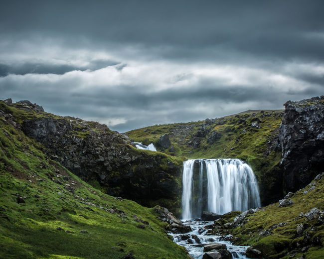 Highland waterfall in the  icelandic wilderness