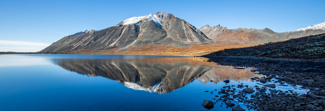 Canada Yukon Yukon Territory No People Alone Landscape Quiet Moments Peaceful Landscapes Mountains Reflection Water Lake Still Life