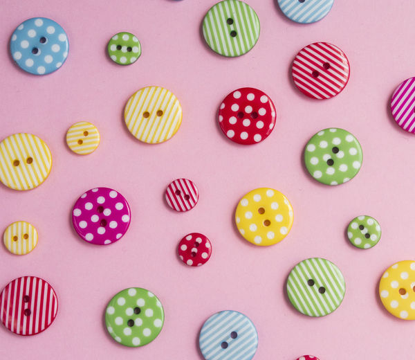 Circle Fashion Pattern Pieces Pattern, Texture, Shape And Form Accessory Buttons Multi Colored Pattern Pink Color Still Life