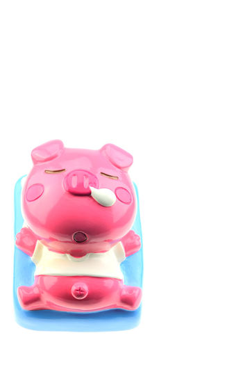 Studio Shot White Background Pink Color Copy Space Still Life Indoors  Cut Out Toy Animal Representation No People Piggy Bank Representation Close-up Plastic Investment Finance Red Savings Single Object Coin Bank Inflatable