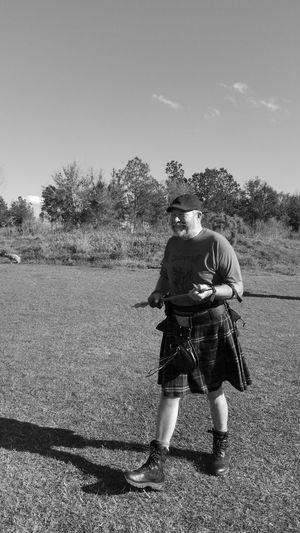 Range Practice 1 Only Men One Man Only Adult Full Length Adults Only People Sport Men One Person Outdoors Sky Day Nature Sportsman Archery Range Archery Pensacola Florida Highlander Men In Kilts Be. Ready. Black And White Friday