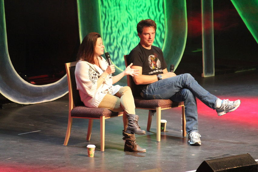 Eve Myles and John Barrowman from Doctor Who's Torchwood @ FedCon 22 in 2013 Doctor Who Eve Myles FedCon Fedcon 22 John Barrowman Actors On Stage Indoors  Seat Torchwood