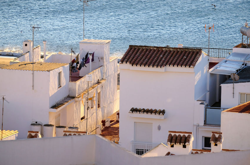 Alleyway Antenna Atmosphere Clothesline Golden Hour High Angle View Holiday Mediterranean  Morning Sun Narrow Street No People Roof Terrace Rooftops Sea Spain, Andalucia, Malaga Sunny Day Torremolinos Tranquil Scene Travel Destination Vacation Village View White Houses White Walls