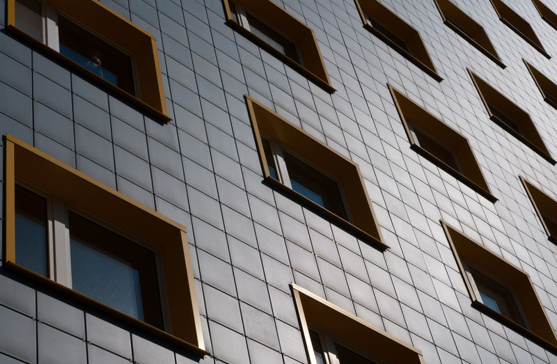 Residential Building Built Structure Building Exterior Architecture Low Angle View Window Building City Day No People Glass - Material Outdoors Residential District Full Frame Repetition In A Row Reflection Pattern Apartment Rental Flats Textured